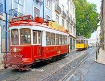 Las tranvías del vintage de Lisboa Foto de archivo