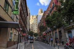 Las Tres Cruces街,马德里 库存照片