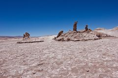 Las Tres Marias stone formation in Chile / Atacama desert stock photography