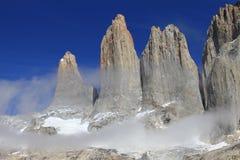 Las tres torres de Torres del Paine Imágenes de archivo libres de regalías