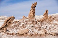 Las tresMarias tre Marys bildande vaggar i Valle de la Luna i San Pedro de Atacama, Chile Royaltyfri Fotografi