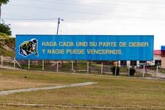 LAS TUNAS, CUBA - JAN 27, 2016: Propaganda billboard at Plaza de la Revolucion Square of the Revolution in Las Tunas. It says: If everyone does its part of stock image