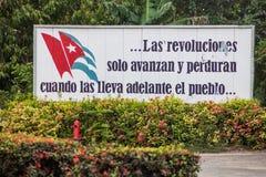 LAS TUNAS, CUBA - JAN 27, 2016: Propaganda billboard at Plaza de la Revolucion Square of the Revolution in Las Tunas. It says: The revolutions only advance and royalty free stock photo