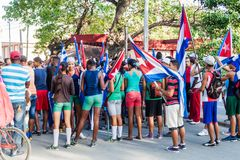 LAS TUNAS, CUBA - JAN 28, 2016: Young people prepare for a parade celebrating the birthday of Jose Marti, Cuban national stock image