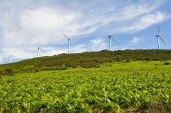 Las turbinas de viento cultivan, rango de Elgea (el país vasco) Fotos de archivo
