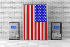Las urnas acercan a la cabina de votación blanca con la cortina y la bandera de los E.E.U.U. Fotos de archivo libres de regalías