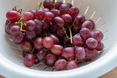 Las uvas púrpuras tiraron el primer en luz natural fotos de archivo