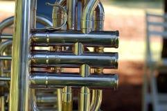 Las válvulas de la trompeta se cierran para arriba Fotos de archivo libres de regalías