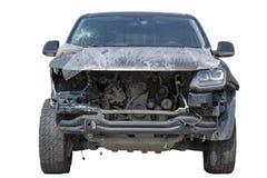 Las víctimas de choque de coche, coche delantero del choque de coche se estrellaron en y roto gravemente, un parabrisas quebrado, fotos de archivo