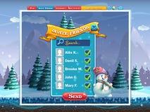 Las vacaciones de invierno invitan a la ventana de los amigos para el juego de ordenador Imagen de archivo libre de regalías