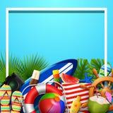 Las vacaciones de verano esconden el fondo en la arena azul de la playa Vista superior de las colecciones del elemento de la play Fotos de archivo libres de regalías