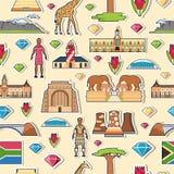 Las vacaciones del viaje de Suráfrica del país ponen y ofrecen etiquetas engomadas Sistema de arquitectura, moda, gente, artículo Ilustración del Vector