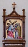las 8vas estaciones de la cruz, Jesús encuentran a las hijas de Jerusalén Imágenes de archivo libres de regalías