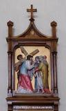 las 8vas estaciones de la cruz, Jesús encuentran a las hijas de Jerusalén Imagen de archivo