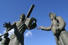 las 8vas estaciones de la cruz, Jesús encuentran a las hijas de Jerusalén Fotografía de archivo