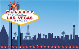 Las Vegas. Welcome Sign with Strip behind (layered for easy editing Stock Image