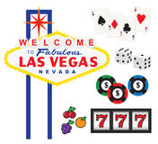 Las Vegas. Vector illustration of Welcome to Fabulous Las Vegas sign and gambling elements including cards, dices, chips, and slot machine Royalty Free Stock Photos