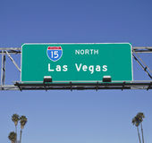 Las Vegas 15 Freeway Sign with Palms Stock Image