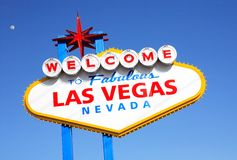 Las Vegas. Welcome To Fabulous Las Vegas Sign against blue sky- early morning Stock Photography