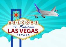 Las vegas and airplane Royalty Free Stock Photo