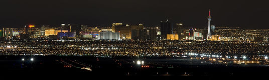 Las Vegas Airport and The strip. Las Vegas strip with an airport in the foreground Stock Photos