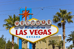 Las Vegas - April 2010: Welcome to Fabulous Las Vegas sign on the Las Vegas Strip II Stock Photos