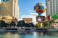 Las Vegas, Bally`s Hotel,  Hotel Paris, Hotel Planet Hollywood, View from Bellagio Fountain royalty free stock photo