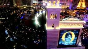 Las Vegas Bellagio fountains at night, September 12,2014 Las Vegas, Nevada stock video footage