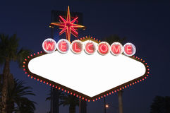 Las Vegas Blank Sign at Night. Blank Las Vegas sign with Palms at night.  Overhead wires were removed Stock Photo