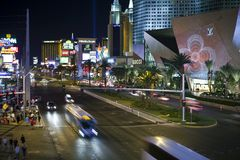 Las Vegas Blvd Night Stock Photo