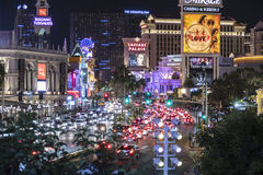 Las Vegas Blvd Night Traffic View Royalty Free Stock Photos
