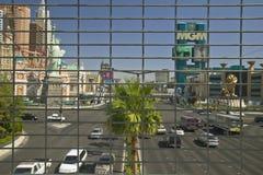 Las Vegas Blvd. Strip and traffic seen through fence in Las Vegas, NV stock images