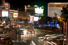 Las Vegas Boulevard. Image at night of Las Vegas Boulevard. Many hotels, shows and events happening Stock Photo