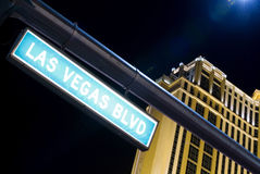 Las Vegas Boulevard. Street sign by night in Las Vegas (Nevada, USA Stock Photos