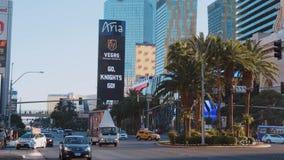 Las Vegas Boulevard en Aria Hotel y el casino - los E.E.U.U. 2017 almacen de video