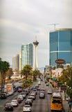 Las Vegas Boulevard i morgonen Arkivfoton