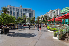 Las Vegas Boulevard. Las Vegas, USA - October 7, 2014: Exteriors of Bellagio (left) and Caesar's Palace (right) at the other side of Las Vegas Boulevard. They royalty free stock image