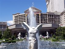 Las Vegas Caesars Palace Statue Front. Image of the Caesars Palace  Hotel and Casino from a fountain on the Vegas strip in Las Vegas, Nevada Stock Images