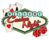 Las Vegas Casino Night Logo Artwork. Casino Night Las Vegas Logo Artwork Dice Cards Poker chips fun sign poster invitation royalty free illustration