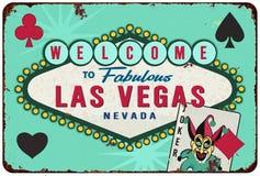 Las Vegas Casino Tin Sign Retro Cards Convention. Welcome to Las Vegas Tin Sign Retro Casino Card Playing Joker Stock Photos