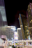 Las Vegas Center Modern Buildings. High Point Shot. Blurred Moti Royalty Free Stock Photos