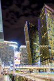 Las Vegas Center Modern Buildings. High Point Shot. Blurred Moti Royalty Free Stock Images
