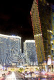 Las Vegas Center Modern Buildings. High Point Shot. Blurred Moti Stock Photography