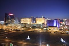 Las Vegas Center of the Strip at Night Royalty Free Stock Images