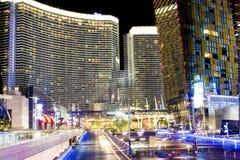 Las Vegas Centrum Nowożytni budynki Wysokiego Punktu strzał Zamazany Moti Zdjęcia Stock