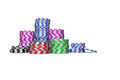 Las Vegas Chips. Colored casino chips isolated on white background. For magazines, banners, webpages, flyers, etc Royalty Free Stock Photos
