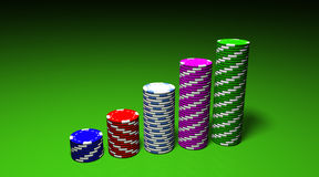 Las Vegas Chips Graph. 3D rendering of an attractive and colored chips graph Royalty Free Stock Images