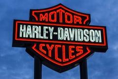 Las Vegas - Circa December 2016: Harley-Davidson Local Signage De Motorfietsen van Harley Davidson ` s zijn Gekend voor Hun Volge Royalty-vrije Stock Foto's