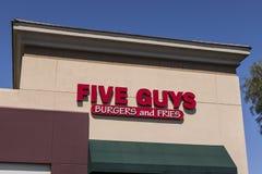 Las Vegas - Circa Juli 2017: Restaurang för fem grabbar Fem grabbar är en snabb tillfällig restaurangkedja i USA och Kanada VII Arkivbild