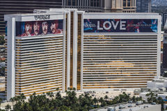 Las Vegas - Circa July 2017: Aerial view of The Mirage Hotel and Casino. The Mirage is the home of The Beatles: LOVE I Stock Image